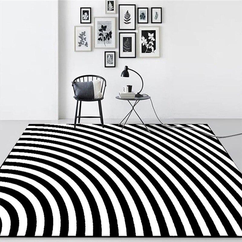 سجادة طاولة بجانب السرير ، عصرية ، بسيطة ، سوداء وبيضاء ، غير متناظرة ، هندسية ، لغرفة النوم وغرفة المعيشة ، 200 × 300 سنتيمتر