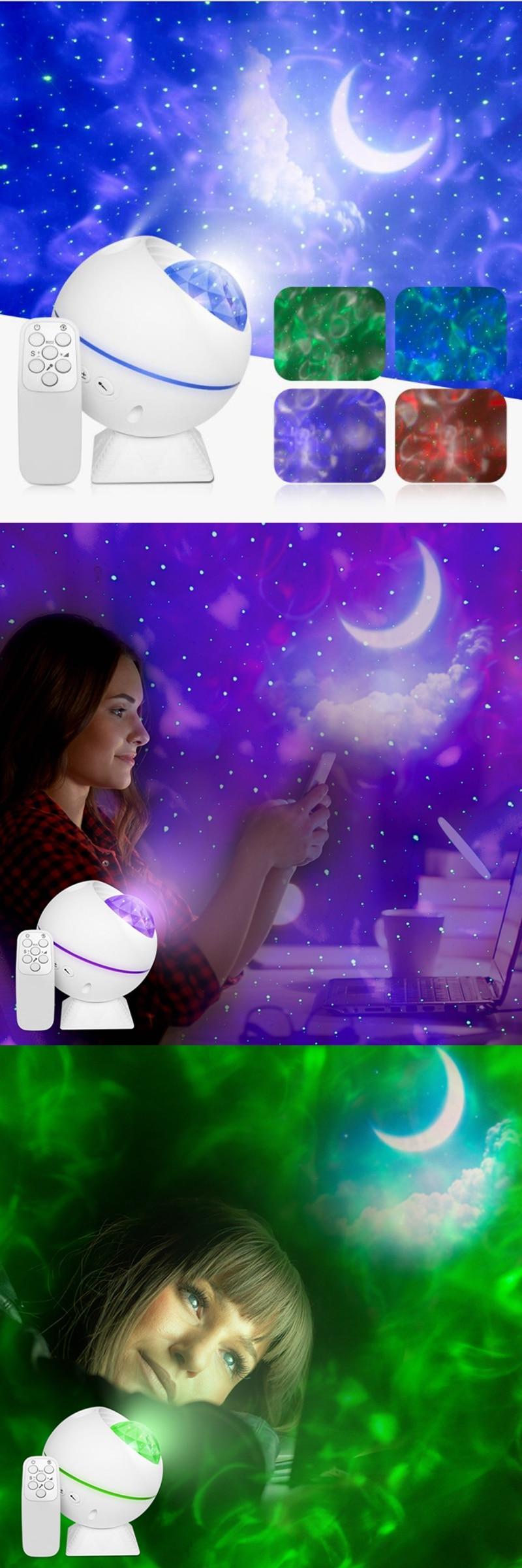 estrelas noite lâmpada de controle remoto colorido