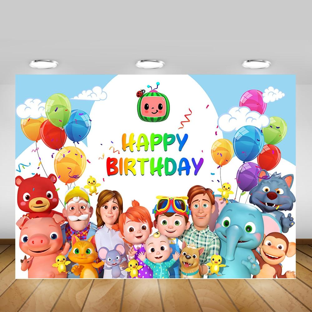 Cocomelon fiesta temática familiar telón de fondo para fotografía niños recién nacidos dibujos animados fondo con foto para cumpleaños foto de estudio