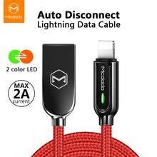 Mcdodo usb carregador cabo led 2a para iphone x xr xs max 8 7 6s plus para relâmpago cabo de carregamento rápido dados desconexão automática cabo