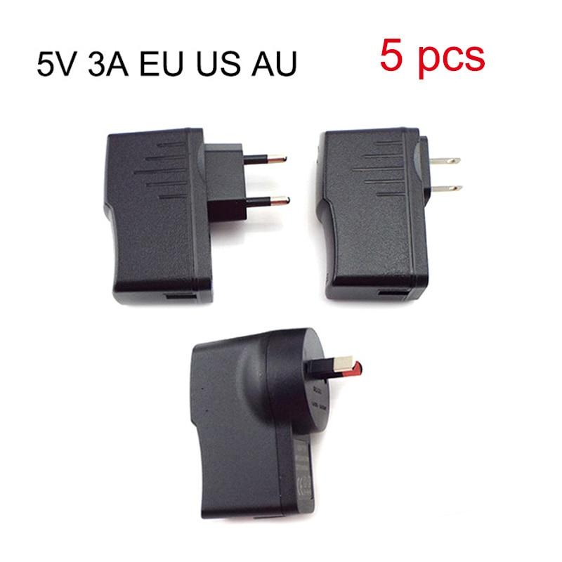 5 قطعة 5 فولت 3A محول الطاقة المصغّر USB شاحن التيار المتناوب إلى تيار مستمر شحن مهايئ طاقة شامل توريد 100 فولت-240 فولت الناتج