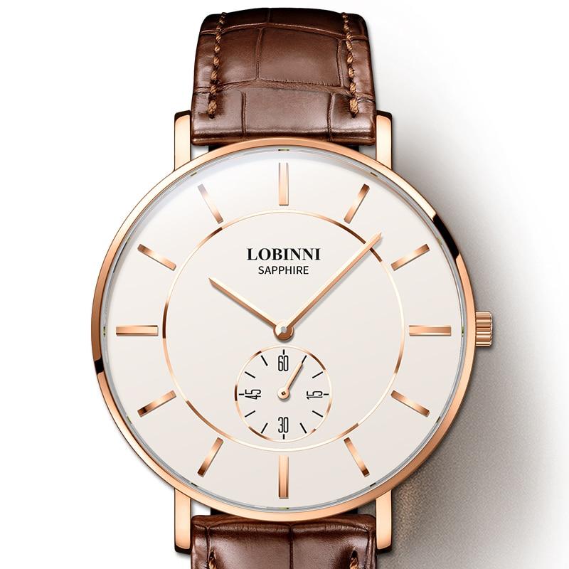 New Switzerland Luxury Brand LOBINNI Man Wristwatches 7 mm Ultra-thin Quartz Watch Men Fashion Waterproof Couples Clock L3001M