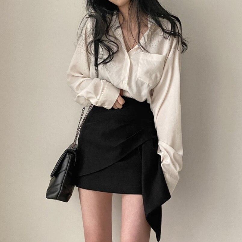 مكتب سيدة 2 قطعة مجموعات طويلة الأكمام واحدة الصدر قميص وارتفاع الخصر غير النظامية هيم تنورة عادية قطعتين وتتسابق أنيقة