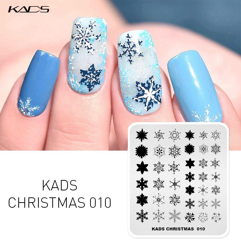 KADS 14 Design Floco De Neve alces Natal Prego Carimbar Placas placas de Imagem Nail Art Stamp Template Stencils selo para Impressão