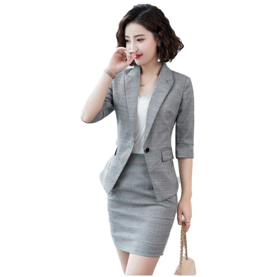 2020 gris traje falda chaqueta de tela escocesa conjunto uniforme mujer elegante Formal chaqueta de mujer para oficina y Chaqueta larga las mujeres OL 2 dos piezas trajes