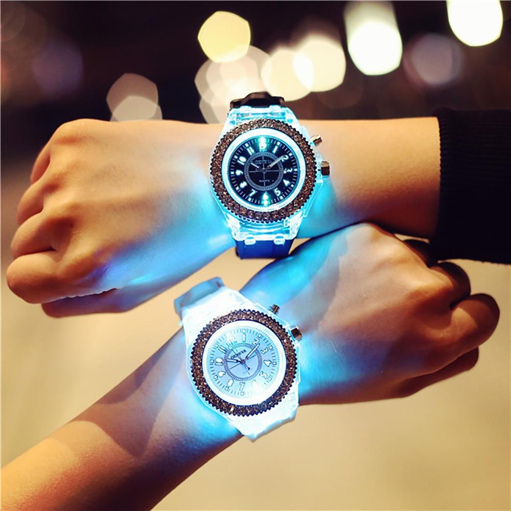 Creative Personality Minimalist Leather Normal LEDWatch Men And Women Couple Watch Smart Electronics