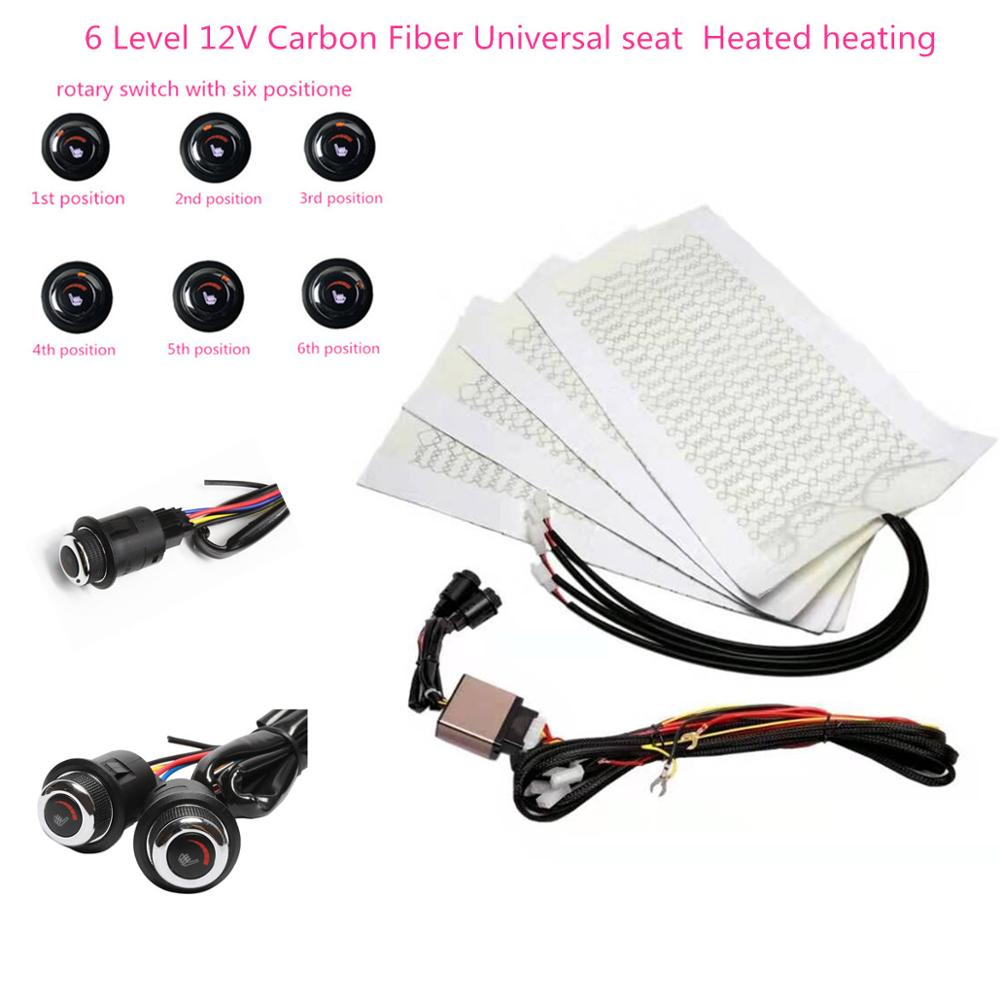 12V Universal 6 Level Round switch 12V Carbon Fiber Universal Car Heated heating Heater Seat Pads Wi