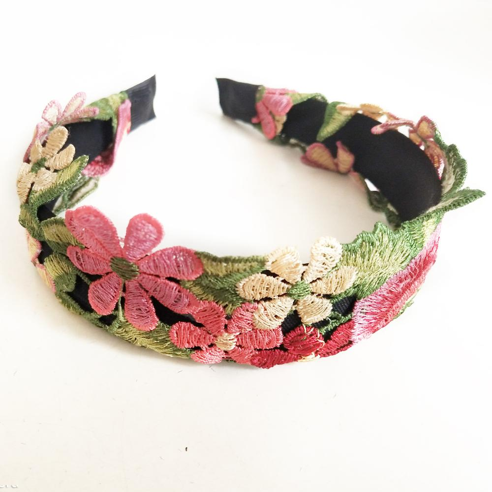 Embroidered Flower Colorful Hairbands For Women Hair Accessories For Girls Hair Band Crown Flower Headbands For Women