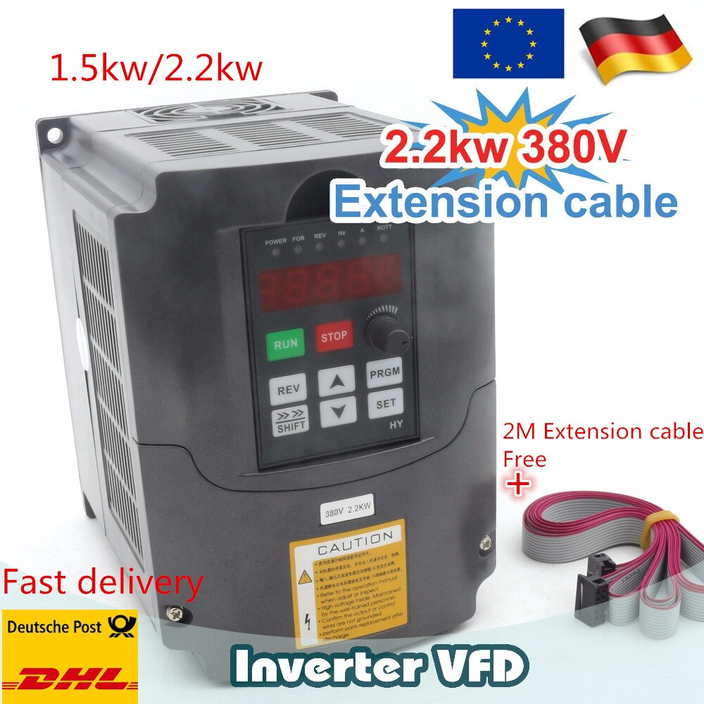 Entrega en UE 15.KW/ 2.2KW 380V inversores de husillo VFD Vector Control convertidor de frecuencia 3hp entrada 1 o 3 fases