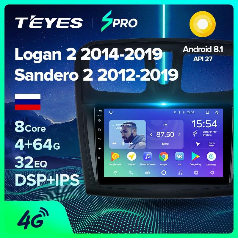 TEYES SPRO For Renault Logan 2 Sandero 2014 2019 Symbol Car Radio Multimedia Video Player Navigation GPS Android 8.1 No 2din