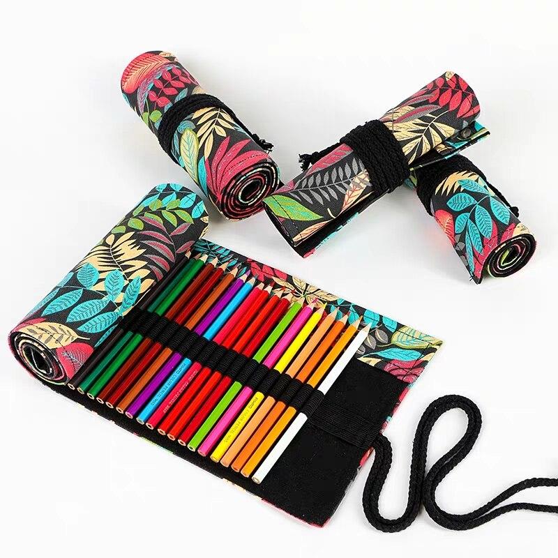 Estuche de lápiz de almacenamiento de lona a la moda hoja de arce 48 agujero rollo cepillo estuche DIY pintura lápiz bolsa para estudiantes escolares suministros de arte