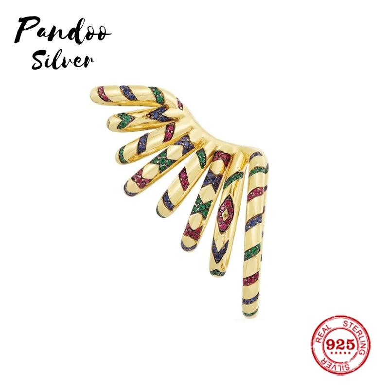Fashion Charm Sterling Silver Copy 1:1 Copy,Yellow Statement Multicolor Tribal Sliding Mono Ear Cuff Women Luxury Jewelry Gift