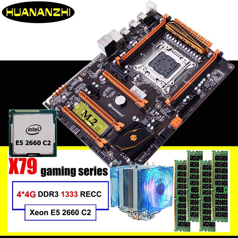 Gaming computer assemblage HUANANZHI korting deluxe X79 moederbord met M.2 slot CPU Intel Xeon E5 2660 C2 cooler RAM 16G (4*4G)