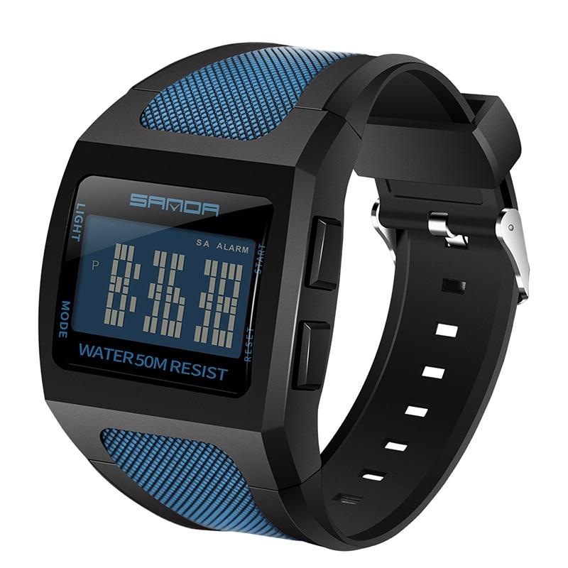 Relógio do Esporte Masculino dos Homens 50m à Prova Sanda Homem Relógio Digital Quadrado Azul Dwaterproof Água Data Automática Esporte Relógios Militares
