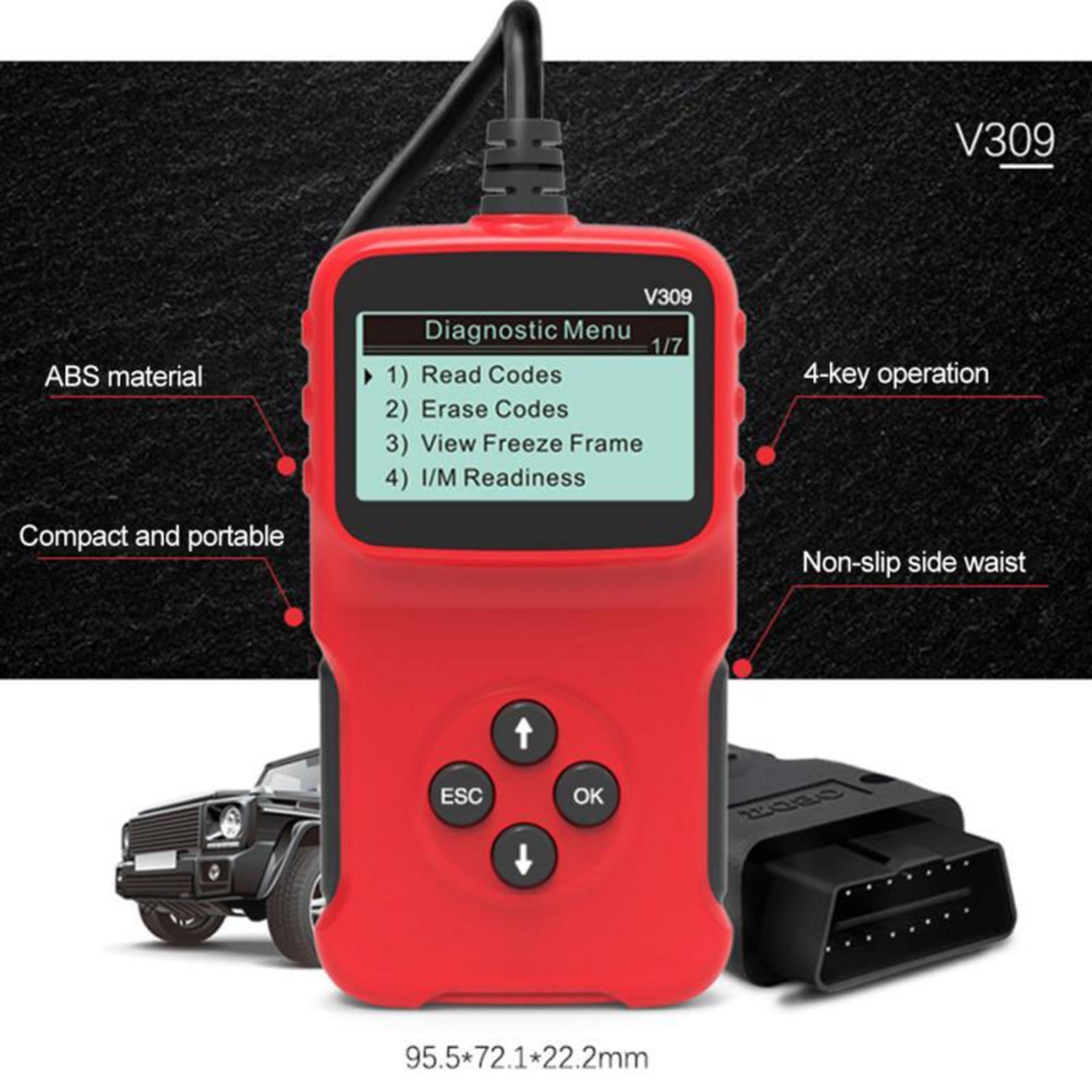 Автомобильный диагностический инструмент V309 OBD 2 OBDII, сканер интерфейса, считыватель кодов OBD, диагностический инструмент для проверки неисп...