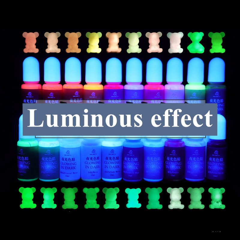 10ml/garrafa uv resina fulgor no pigmento escuro diy artesanato da arte coloração corante pigmentos luminosos para tonificar
