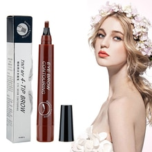 4 Fork Makeup Eyebrow Pen Waterproof 3D natural color  Eyebrow Tint Tattoo Cosmetic Long Lasting Nat