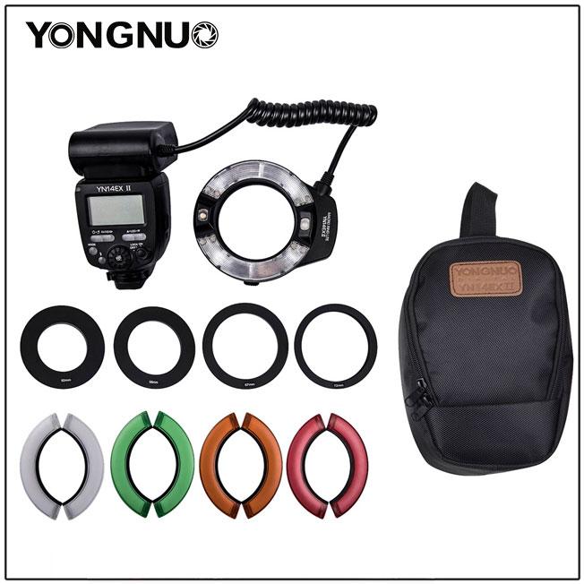 Yongnuo YN14EX II ماكرو الدائري ضوء فلاش LED M/TTL مع 52 مللي متر 58 مللي متر 67 مللي متر 72 مللي متر خاتم محول لكانون كاميرا DSLR 7D 60D 70D 700D