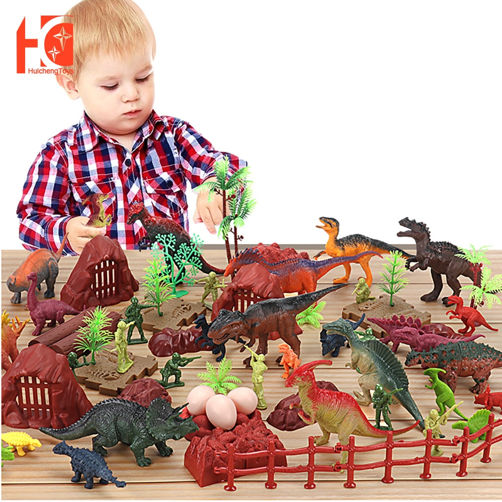 Dinosaur Toys Set 48/62/78/84/98/114pcs Play Dino Educational Jurassic Park T-Rex Model for Child Dragon