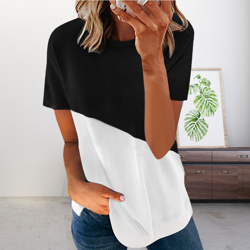 Women's Half Sleeve T Shirts Casual Color Block Round Neck Spring Tops Hit Color Printing Round Neck