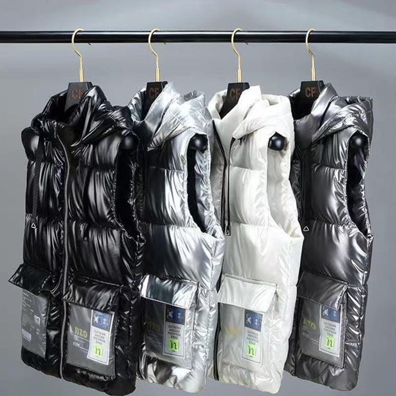 Новинка, зимние жилеты, модные зимние мужские жилеты, толстая теплая ветровка, жилеты для женщин и мужчин, Повседневная Свободная куртка, па...