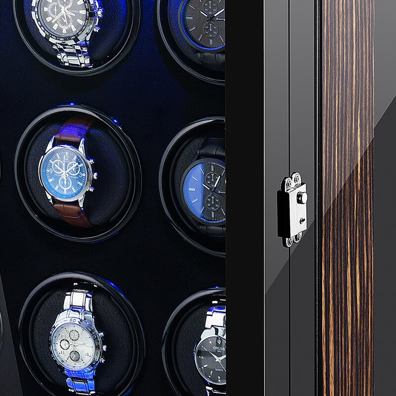 Automatic Watch Winder Box 9 Slots Mechanical Display Wooden Watch Accessories With Silent Motor And Plug enlarge