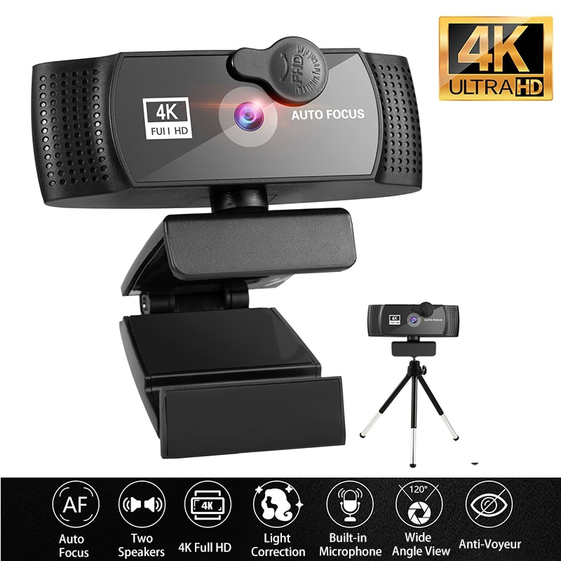 Фото - Веб-камера 4K, веб-камера 1080P для компьютера, веб-камера с USB, Full HD 1080P, веб-камера с микрофоном, крышка конфиденциальности для мини-камеры Youtobe веб камера
