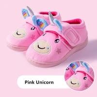 2020 new winter girls unicorn slipper children warm shoes boy indoor shoes home wear kids dinosaur winter slippers