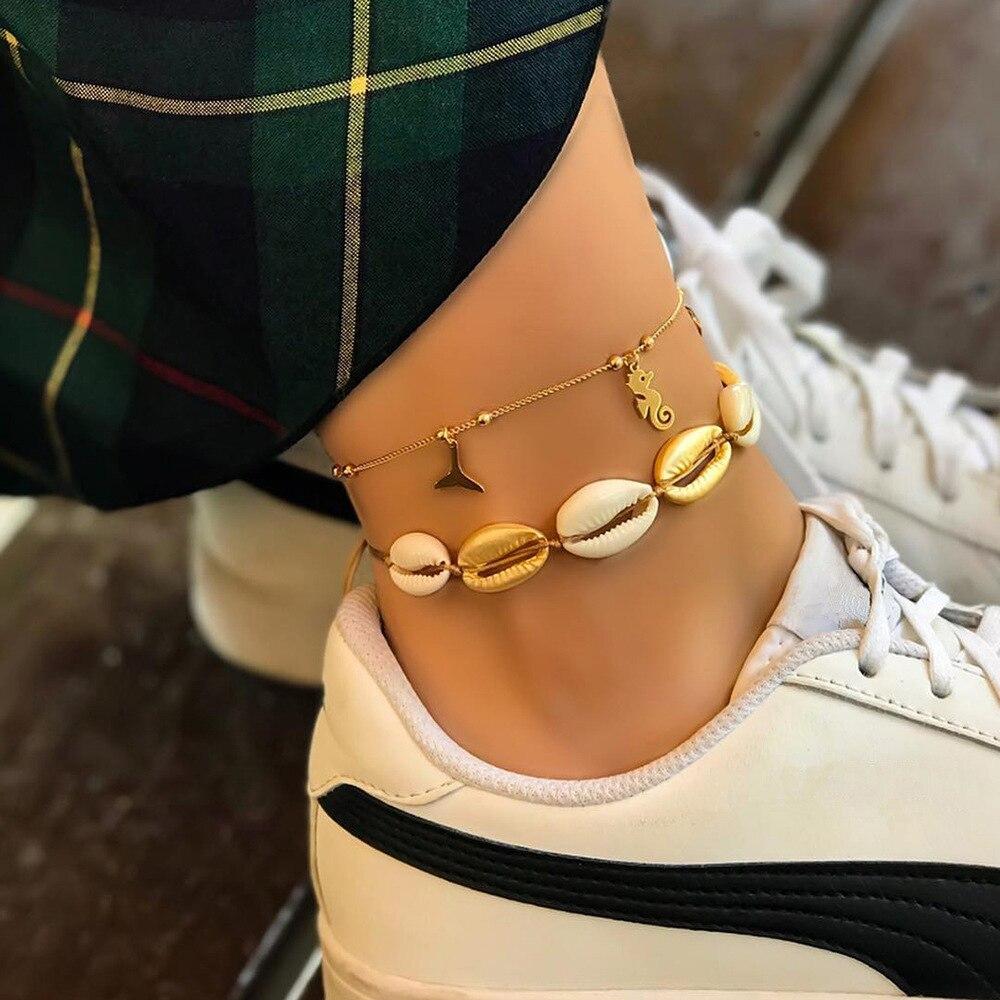 Nuevos Bohemios de concha de caballito de mar ballena cola tobillera pulseras de mujer playa Color oro tobillo Cadena de pie pulsera de verano joyería