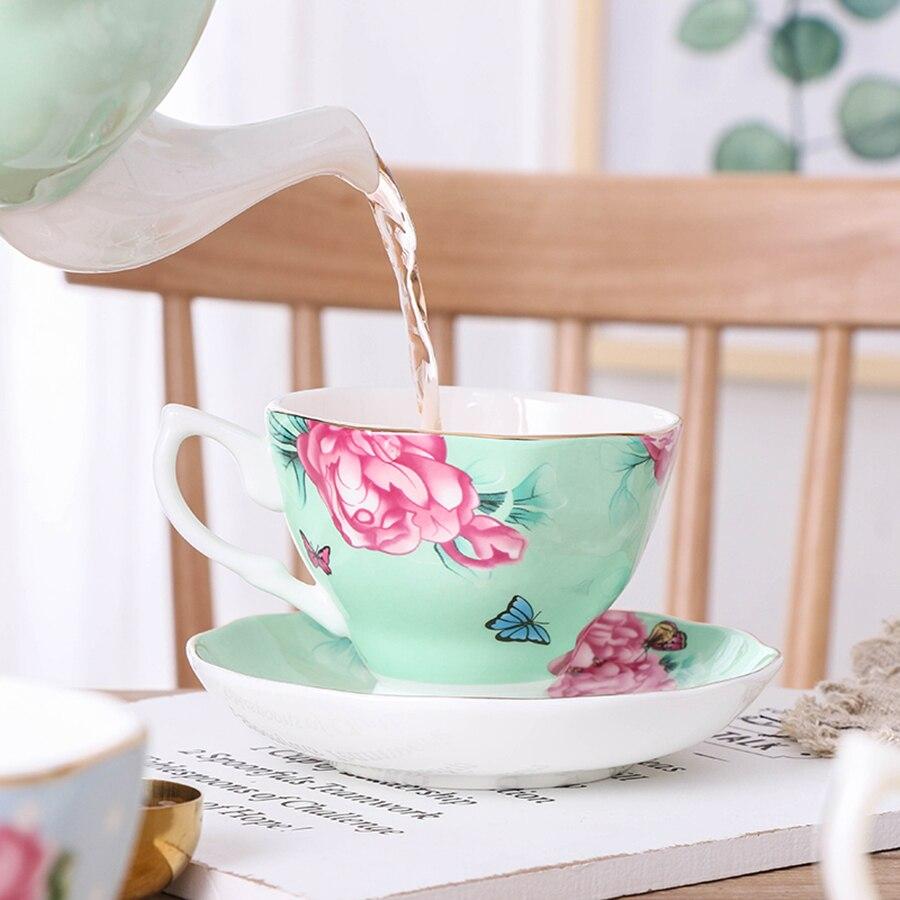 Tazas Espresso europeas taza de café de China Set Home juego de tazas de té de la tarde inglés platillo taza de porcelana y cerámica W