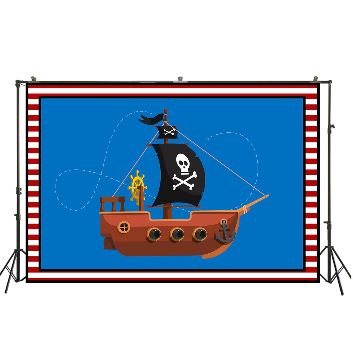 Huayi azul escuro tecido com navio pirata pano de fundo tema marinho caça ao tesouro menina menino adulto retrato decorationW-2087