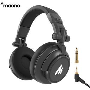 MAONO Professional DJ Studio Monitor Headphones Over Ear and Detachable Plug & Cable with 50mm Driver for DJ Studio a AU-MH601