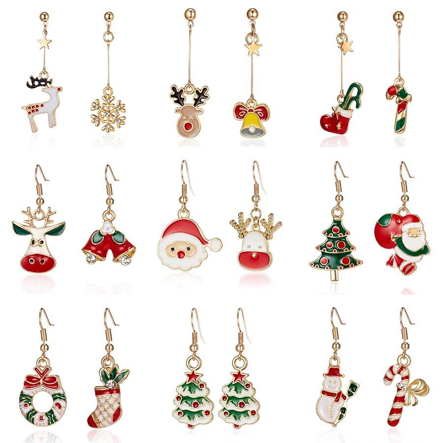 Rinhoo 1 Paar Bunte Weihnachten Socke Krücke Strass Malerei Asymmetrie Tropfen Ohrring Für Frauen Kind Weihnachten Schmuck Geschenk