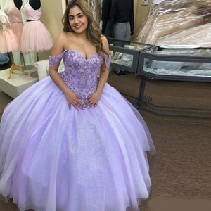 Charming Lilac Ball Gown Quinceanera Dresses Off the Shoulder Lace Appliques Beaded Sequined Tulle Skirt Special Occasion