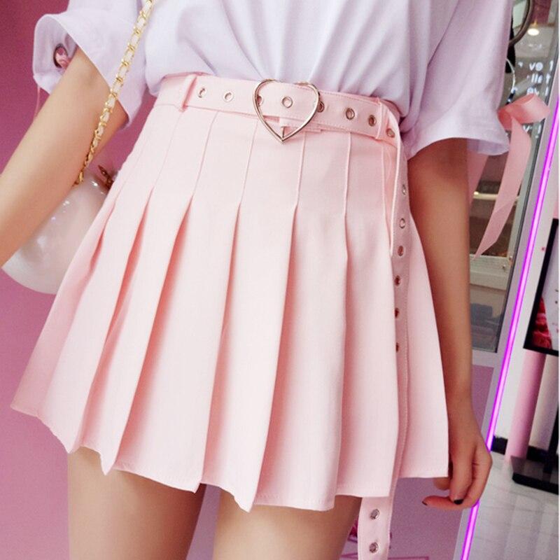 تنورة قصيرة بطيات على الطريقة اليابانية للنساء ، تنورة عالية الخصر ، نمط قوطي ، حب ، حزام قلب ، Harajuku ، Kawaii