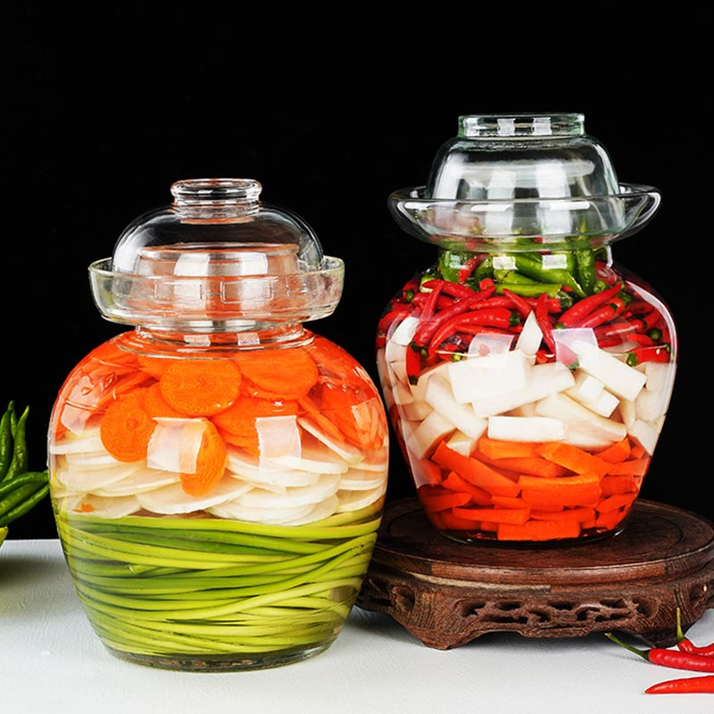 Frasco de vidrio transparente creativo Kimchi, frascos de la tradición china, frascos de salmuera, verduras, Chile, encurtido, contenedor, botella para encurtido