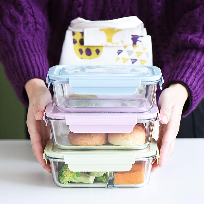 Jsswork-fiambrera Bento de vidrio, almacenamiento de alimentos, Picnic, horno microondas, Marmita, recipientes...