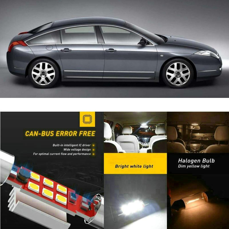Luces interiores de coche LED para Citroen c6 td sedan c8 ea eb minivan c15 vd caja Domo lámpara de mapa bombilla de error gratis