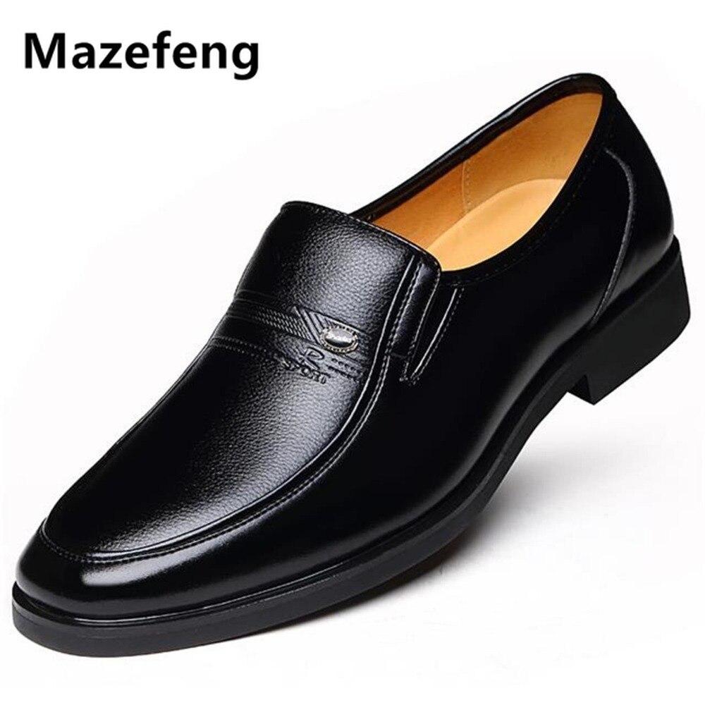 Mazefeng-أحذية جلدية رجالية مخملية, أحذية رجال الأعمال الكلاسيكية بمقدمة مربعة مريحة في الشتاء 2019