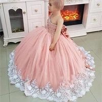 luxurious crystals one shoulder flower girls dress for wedding 3d floral beads toddler infant princess gown baby birthday wears