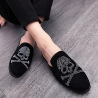new summer mens fashion slippers party dress casual rhinestone pointed flat bottom breathable party dress shoes sandals eu38 44