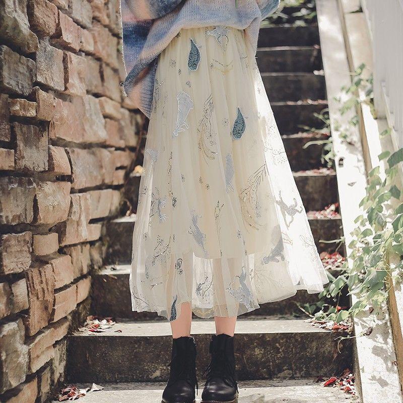 Floral Print Skirt Women Elegant Lace Chiffon Irregular Solid Midi Female Casual Designer 2020 Autumn Winter
