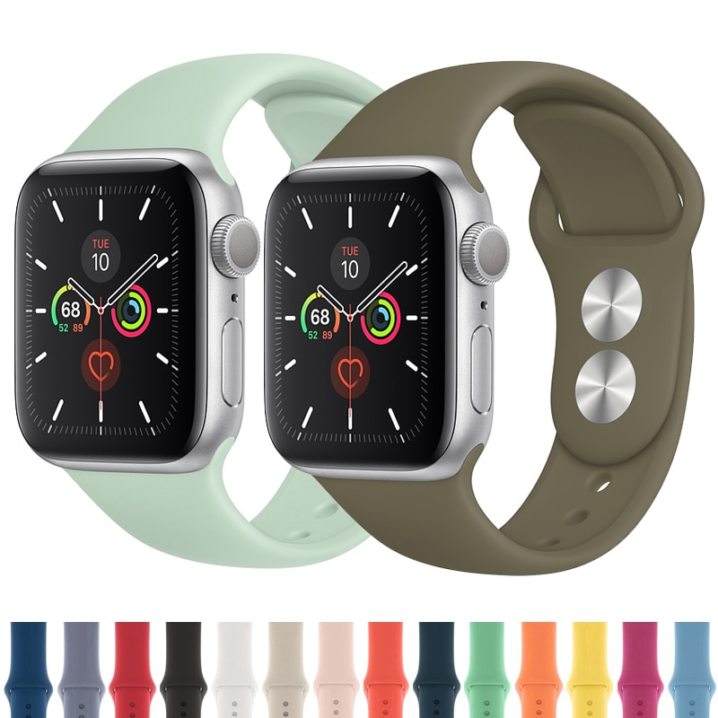 Correa de reloj Apple watch banda 42mm 38mm 44mm 40mm correa iwatch 5 4 3 2 brazalete de silicona deportivo pulseira Apple watch 4 accesorios