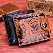 Fashion Dollar Pattern Card Holder Men Wallets Cash Clutch Pocket Wallet Fashion Short PU Leather Wa