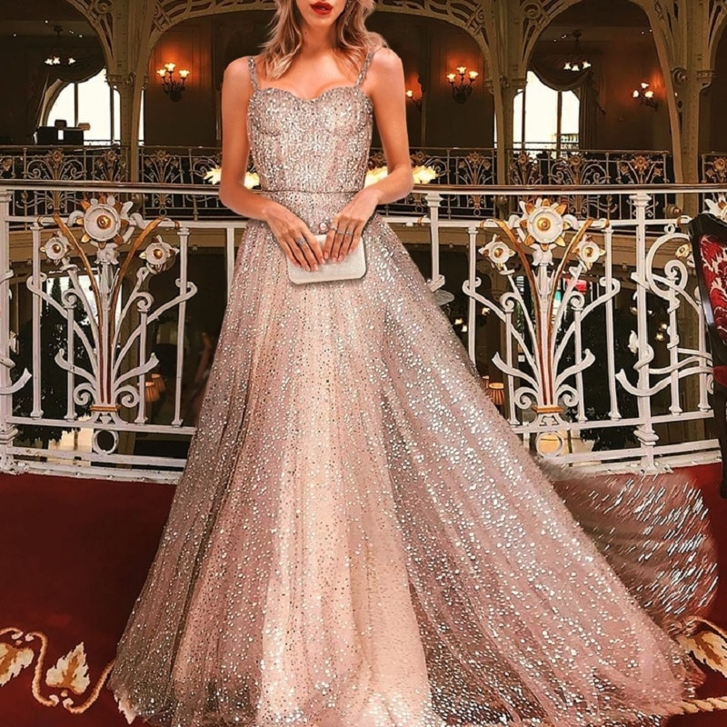 Prom Dresses  A Line V Neck Spaghetti Strap Floor To Length Women Sparkly Amazing sequin Evening Formal Gowns Long
