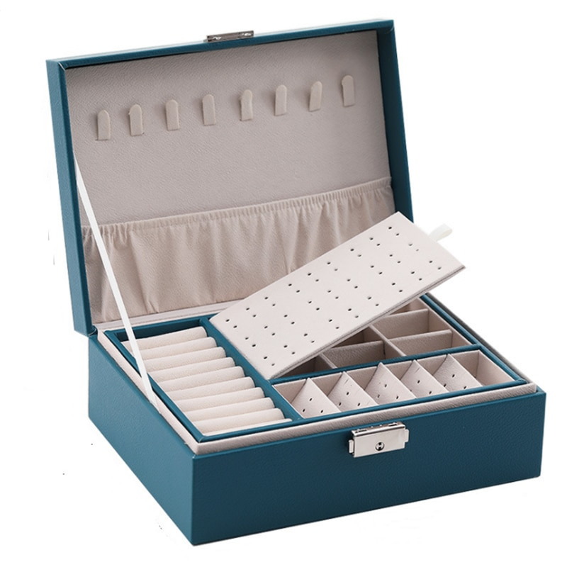 Leather Jewelry Storage Box Portable European-Style Multi-Function Packaging Box  With Drawer Winter Gift