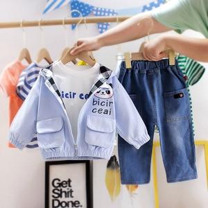 Children Boys Clothing Sets Spring Autumn Kid Boys Clothes Sets Cotton jacket Top Denim Pants 3pcs Toddler Clothes Suit