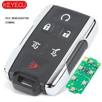 KEYECU Chrome Replacement Remote Control Key Fob 5+1 Button 315MHz for Chevrolet Tahoe Suburban GMC Yukon FCC: M3N-32337100