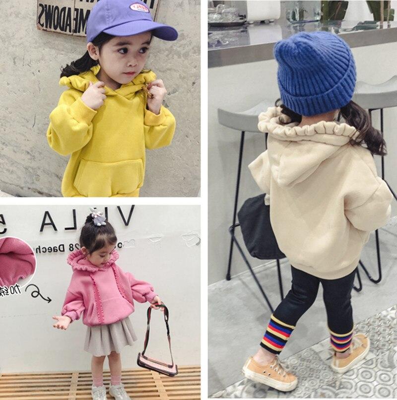 2019 nuevo artículo Otoño Invierno moda chica Camisa con capucha manga larga caliente tres colores