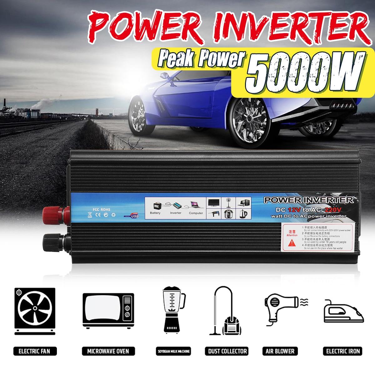 PeakCar-محول جهد السيارة ، محول طاقة السيارة 5000 واط ، محول جهد تيار مستمر 12 فولت/24 فولت إلى تيار متردد 220 فولت ، موجة جيبية معدلة